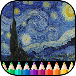 Adult Coloring Book Van Gogh App by TeachersParadise.com