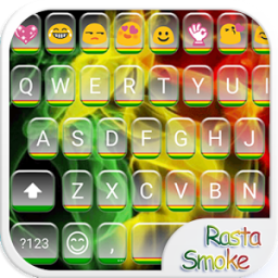 Rasta Smoke Emoji Keyboard App by Colorful Design
