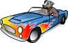+animal+canine+dog+driving+sports+car+ clipart