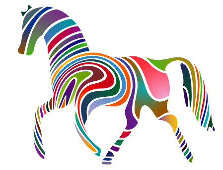 animal ungulate mammal Equidae rainbow horse  clipart