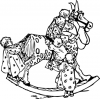 +toy+play+normal+toddlers+on+a+rocking+horse+BW+ clipart
